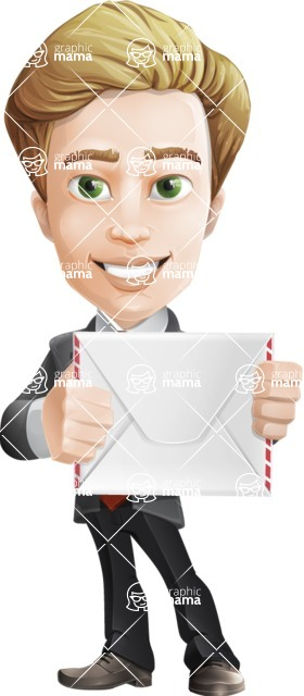 male cartoon character, elegant blond man vector - Letter