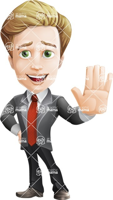 male cartoon character, elegant blond man vector - Wave