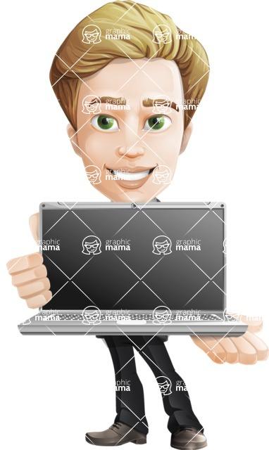 male cartoon character, elegant blond man vector - Laptop
