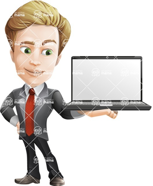 male cartoon character, elegant blond man vector - Laptop2