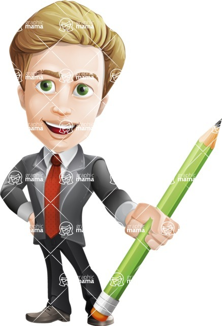 male cartoon character, elegant blond man vector - Pencil