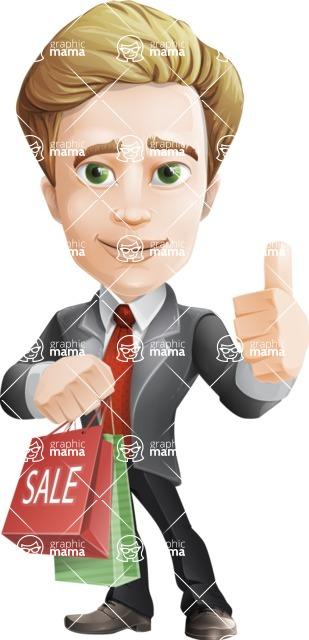 male cartoon character, elegant blond man vector - Sale