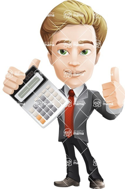 male cartoon character, elegant blond man vector - Calculator