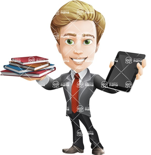 male cartoon character, elegant blond man vector - Book and iPad