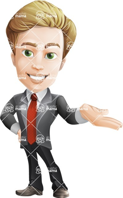 male cartoon character, elegant blond man vector - Showcase