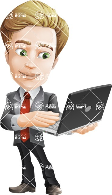 male cartoon character, elegant blond man vector - Laptop3