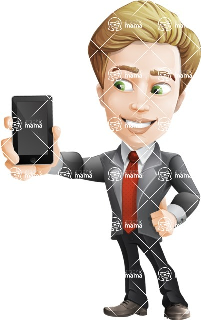 male cartoon character, elegant blond man vector - iPhone