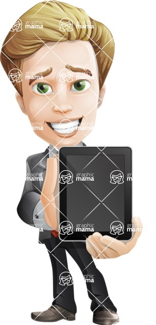 male cartoon character, elegant blond man vector - iPad1