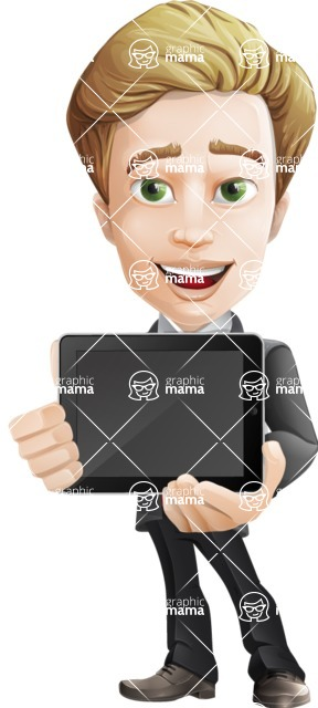male cartoon character, elegant blond man vector - iPad2
