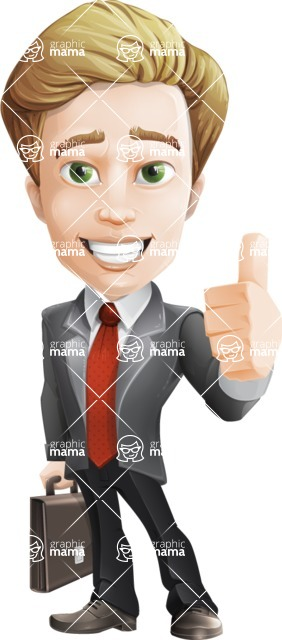 male cartoon character, elegant blond man vector - Briefcase