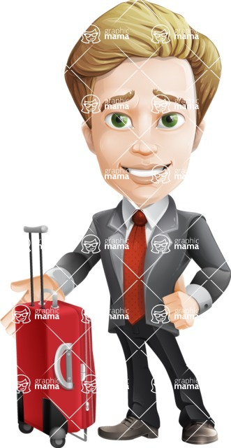 male cartoon character, elegant blond man vector - Travel1