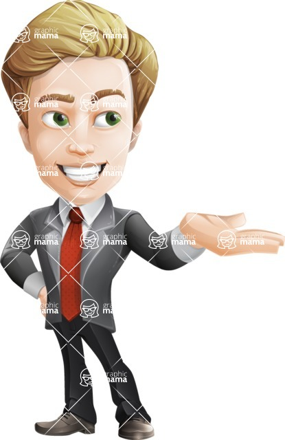 male cartoon character, elegant blond man vector - Showcase2