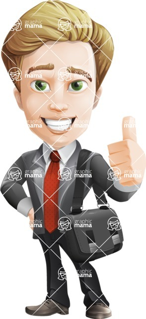 male cartoon character, elegant blond man vector - Travel2