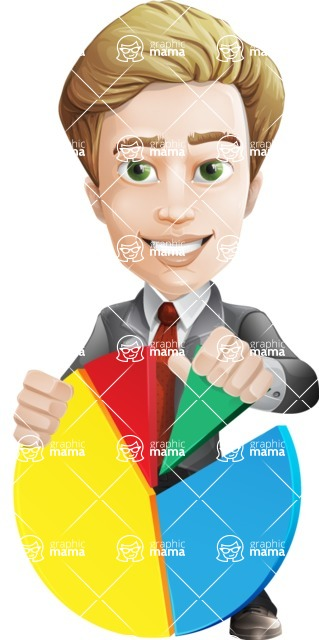male cartoon character, elegant blond man vector - Chart