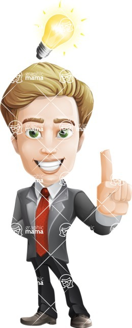 male cartoon character, elegant blond man vector - Idea1