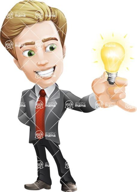male cartoon character, elegant blond man vector - Idea2