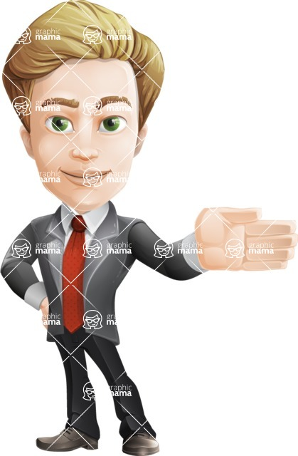 male cartoon character, elegant blond man vector - Show