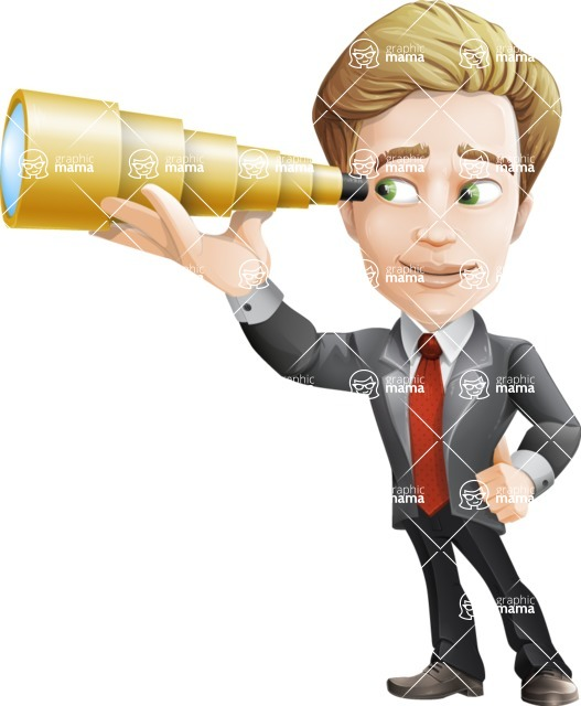 male cartoon character, elegant blond man vector - Telescope