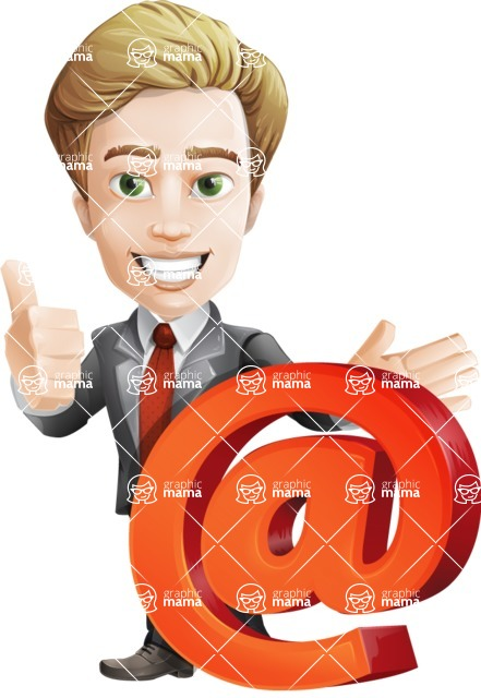 male cartoon character, elegant blond man vector - Email