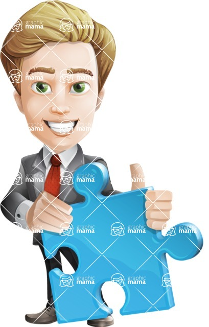 male cartoon character, elegant blond man vector - Puzzle