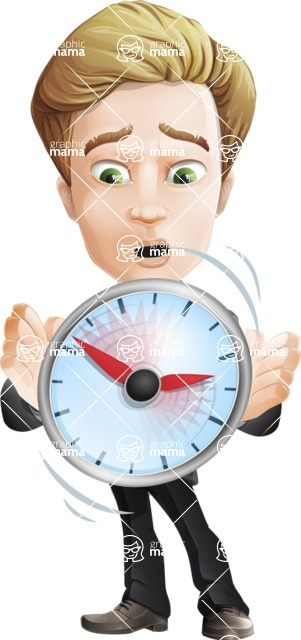 male cartoon character, elegant blond man vector - Time is End