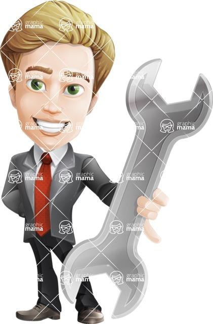 male cartoon character, elegant blond man vector - Repair