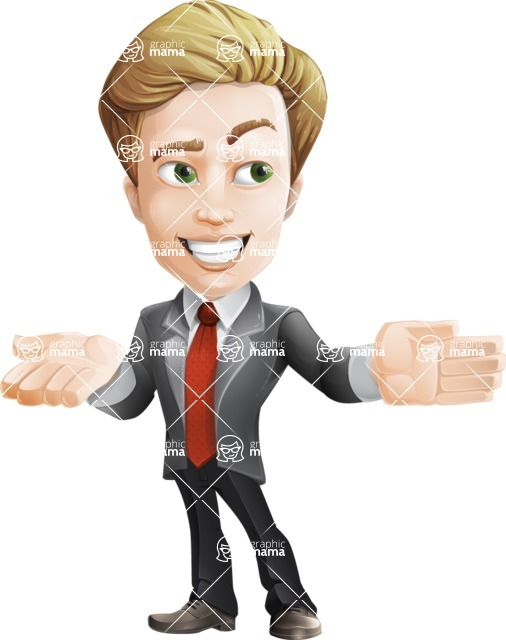 male cartoon character, elegant blond man vector - Show2