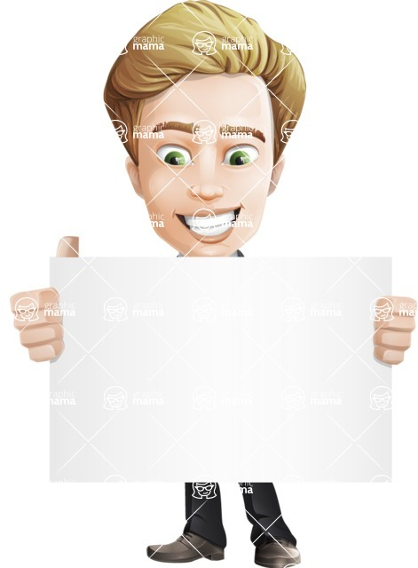 male cartoon character, elegant blond man vector - Sign1