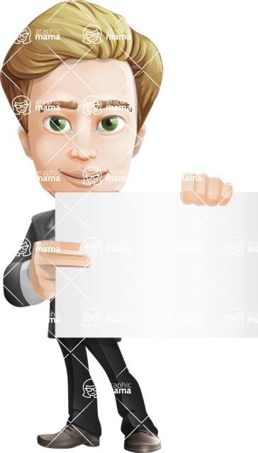 male cartoon character, elegant blond man vector - Sign3