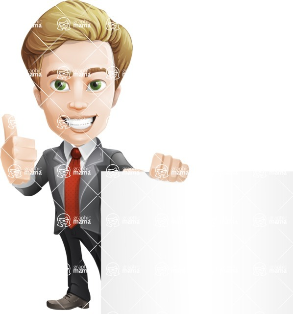 male cartoon character, elegant blond man vector - Sign7