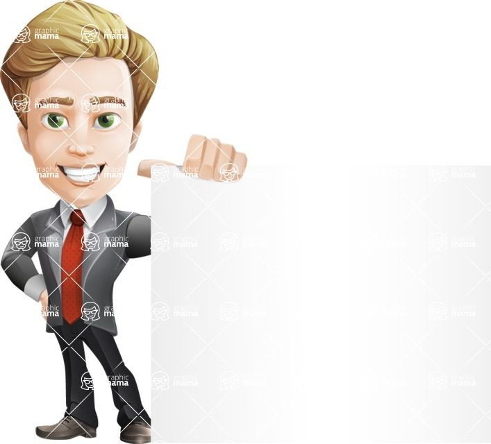 male cartoon character, elegant blond man vector - Sign8