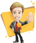 male cartoon character, elegant blond man vector - Shape5