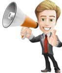 male cartoon character, elegant blond man vector - Loudspeaker