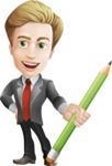 male cartoon character, elegant blond man vector - Pencil