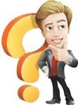 male cartoon character, elegant blond man vector - Questions