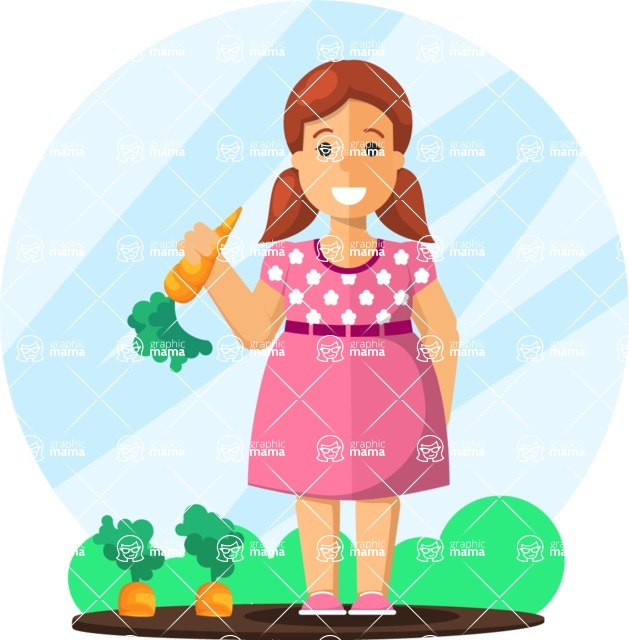 Gym and Diet Vectors - Mega Bundle - Woman Eating Carrots