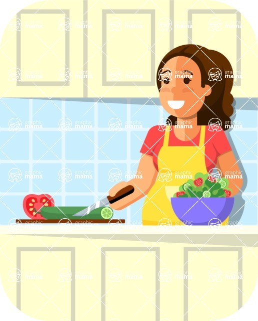 Gym and Diet Vectors - Mega Bundle - Woman Cooking Healthy
