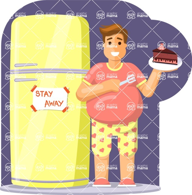 Health & Diet: Overweight People - Man Eating Cake Next to Fridge