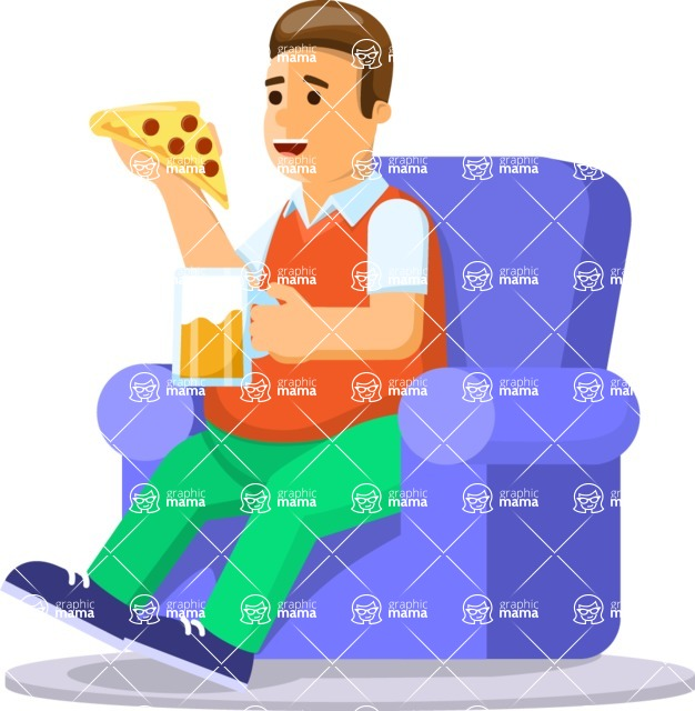 Health & Diet: Overweight People - Man on Couch Drinking Beer Eating Pizza