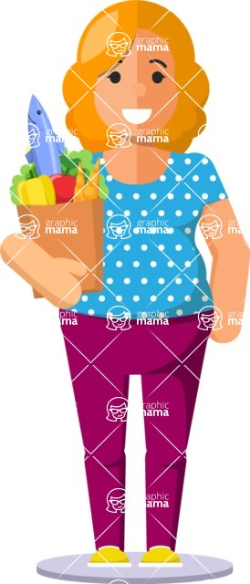 Gym and Diet Vectors - Mega Bundle - Woman with Groceries