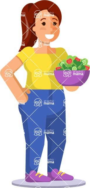 Gym and Diet Vectors - Mega Bundle - Woman with Salad