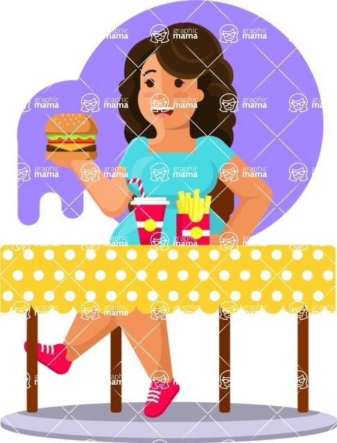 Gym and Diet Vectors - Mega Bundle - Woman Eating Junk Food