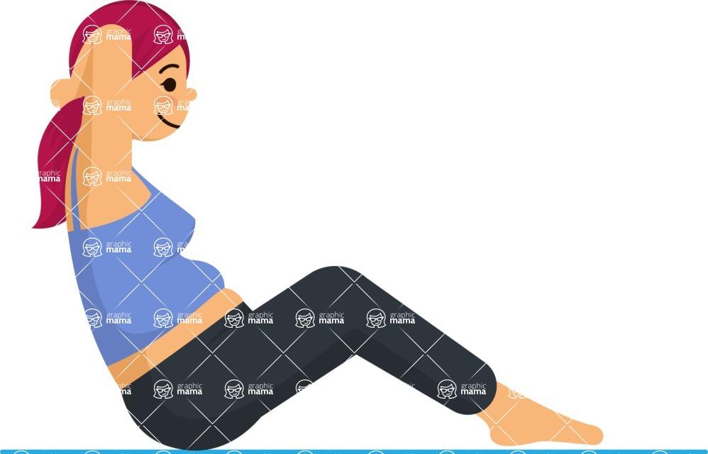 Gym and Diet Vectors - Mega Bundle - Woman Doing Crunches