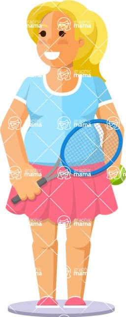 Gym and Diet Vectors - Mega Bundle - Woman Playing Tennis