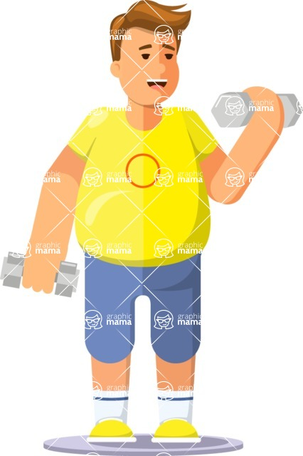 Health & Diet: Overweight People - Man lifting weights