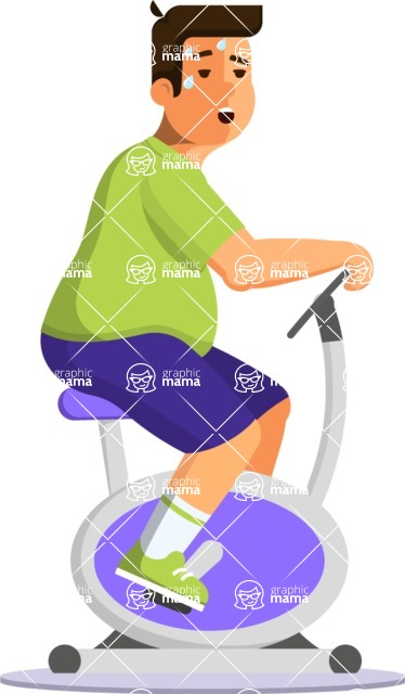 Health & Diet: Overweight People - Man on Elliptical Bike