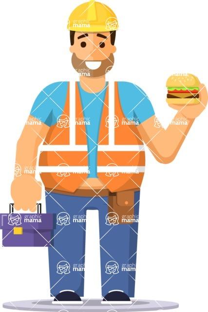 Health & Diet: Overweight People - Worker Eating Fast Food