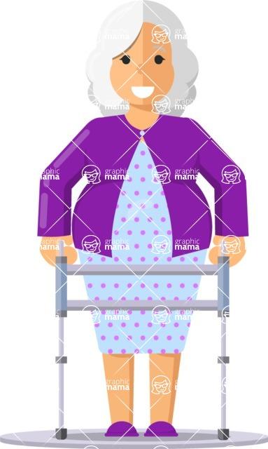 Gym and Diet Vectors - Mega Bundle - Elderly woman