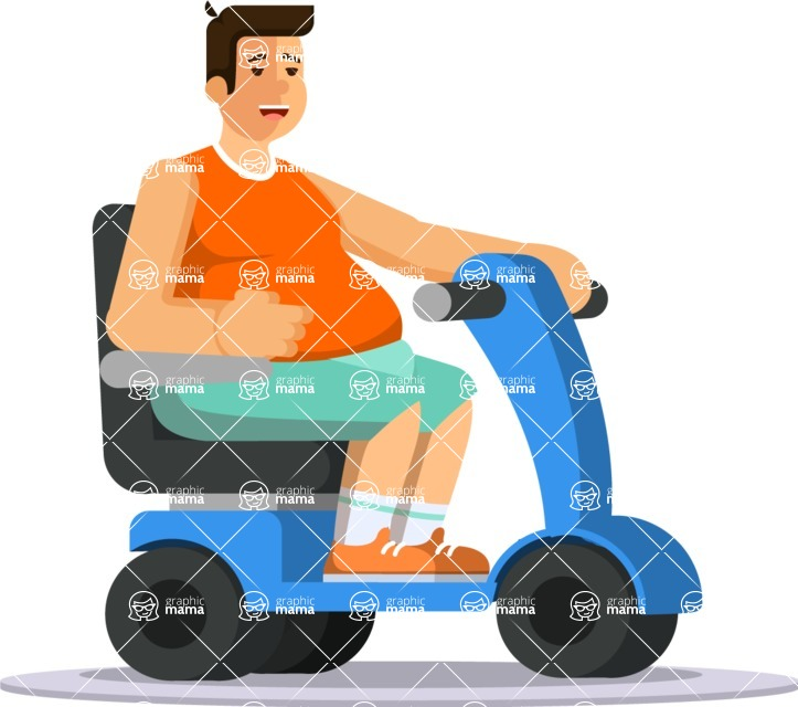 Health & Diet: Overweight People - Man on Electric cart
