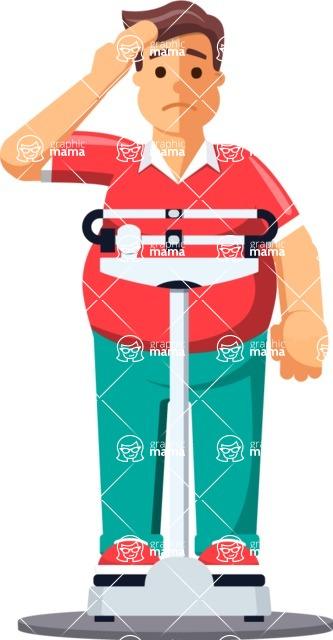 Gym and Diet Vectors - Mega Bundle - Man on Weighing machine